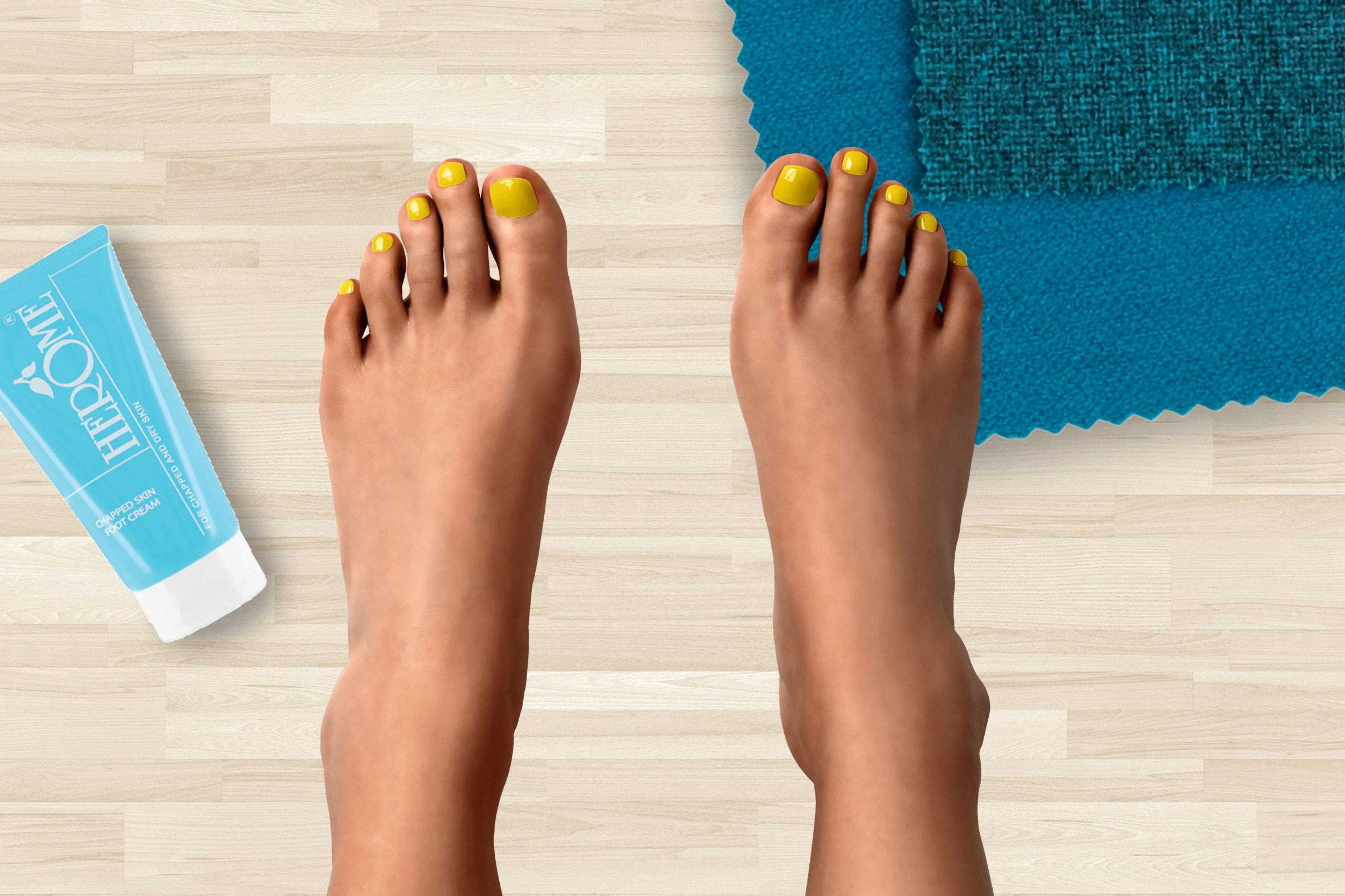 Zomerse gele nagellak op teennagels